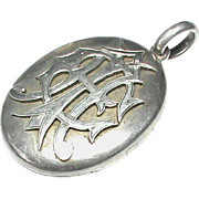 Quality Antique Victorian Sterling Silver AEI Hair Photo Locket