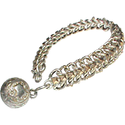 Antique Victorian French Silver 800-900 Bracelet with rose gold vermeil and Charm