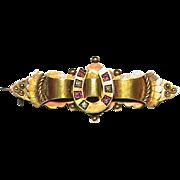 Antique English Victorian 1899 15k Gold Diamond Ruby Lucky Horseshoe Brooch