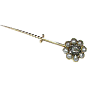 Antique Georgian 18k Gold Seed Pearl & Diamond COMET Brooch