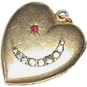 SOLD LARGE Antique Victorian Gold Filled Paste Crescent Heart Locket Pendant