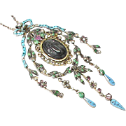 SALE Stunning Antique Victorian Sterling Silver Emerald Ruby Enamel Seed Pearl Pendant Necklac