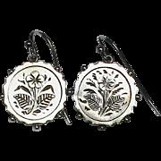 SALE Antique Victorian Sterling Silver Flower Earrings
