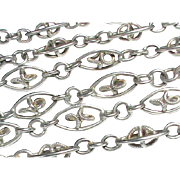 """Antique Arts & Crafts French Silver 800-900 Long Guard Chain Sautoir Necklace 55"""""""
