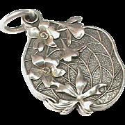 Stunning Antique Art Nouveau Silver 900 Slide Locket Pendant