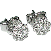 SALE PENDING Quality 18k White Gold Diamond Stud Earrings