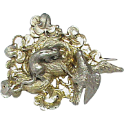 Antique Victorian French Silver 800-900 Brooch Rat stealing egg from bird nest