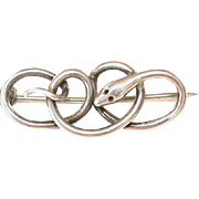 English Antique Edwardian 1907 Sterling Silver Snake Brooch by Charles Horner