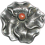 Antique Victororian c1900 Art Nouveau Sterling Silver Coral Flower Brooch