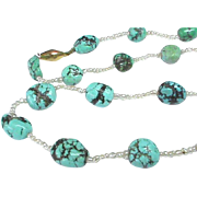 Antique Edwardian 15k Gold Turquoise & Seed Pearl Necklace