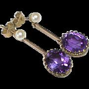 Antique Edwardian 9k Gold Cultured Pearl & Amethyst Earrings