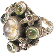 English Arts & Crafts Sterling Silver Gemstone Ring by Zoltan White & Co