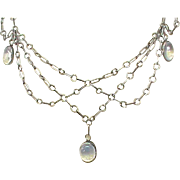 Antique Arts & Crafts Sterling Silver Moonstone Necklace
