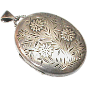 English Antique Victorian 1884 Sterling Silver Large Locket