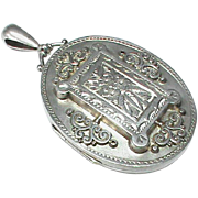 SALE English Antique Victorian 1884 Sterling Silver Large Locket