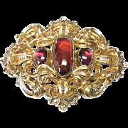 Large Antique early Victorian c1840 15k Gold Garnet Gemstone Brooch