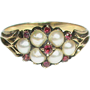 Antique Georgian 18k Gold Natural Split Pearl & Ruby Ring with mourning locket compartment at