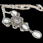 Antique Arts & Crafts Sterling Silver Moonstone Pendant Necklace