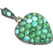 Antique Victorian Sterling Silver Turquoise Heart Locket Pendant