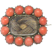 Antique Georgian Gold Filled Coral Mourning Brooch