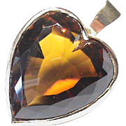 Large Vintage 9k Gold Hessonite Garnet Heart Pendant