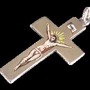 English Antique Victorian 1899 Sterling Silver Enamel Cross Pendant
