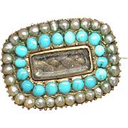 Antique Georgian 9k Gold Turquoise & Natural seed pearl Mourning Brooch