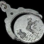 Antique Victorian Aluminium Risque Naughty Spinner Charm Pendant