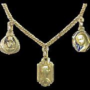 Vintage French Art Deco 18k Gold Plique a Jour Enamel Virgin Mary Pendant Necklace
