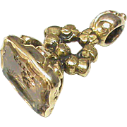 Antique Victorian Gold Filled Seal Charm with Butterfly Citrine Intaglio ADIEU Goodbye!