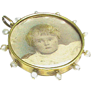 Antique Victorian 15k Gold Seed Pearl Double Sided Locket Pendant