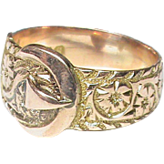 Quality English 1917 9k Gold Buckle Ring