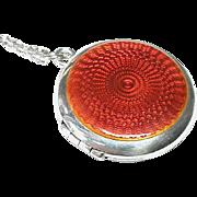 Vintage Art Deco Sterling Silver Red Enamel Locket Pendant & Chain