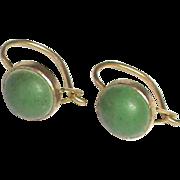 Tiny Antique Edwardian 9k Gold Murrle Bennett Co Turquoise Earrings