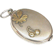 Large Antique Victorian Art Nouveau Silver 800-900 Conker Slide Mirror Locket Pendant with gol