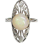 Antique Arts & Crafts Sterling Silver Opal Ring attributed to Bernard Instone