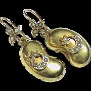 Antique Victorian 9k Gold Kidney Bean & Seed Pearl Star & Moon Earrings