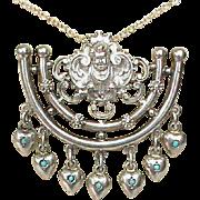 Antique Victorian Silver 800 Turquoise Heart Charm Cherub Pendant Necklace
