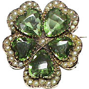 Antique Victorian 9k Gold Peridot colored Paste & Seed Pearl PANSY Brooch