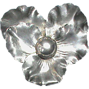 Large Antique Victorian c1900 Silver Plated PANSY Brooch