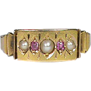 English Antique Victorian 1883 15k Gold Seed Pearl & Ruby Ring