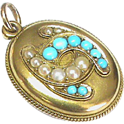 Antique Victorian 18k Gold Turquoise & Seed Pearl Horseshoe Locket Pendant
