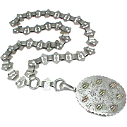 Antique Victorian 1881 Sterling Silver Locket with gold decor & Book Chain Collar Necklace wit