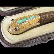 Antique Victorian 9k Gold Turquoise Garnet & Hair SNAKE Bangle Bracelet in fitted original Box