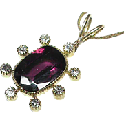 Vintage 9k Gold Garnet Diamond Pendant Necklace