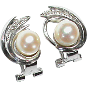 SALE Vintage 1940's French 18k White Gold Cultured Pearl & Diamond Earrings