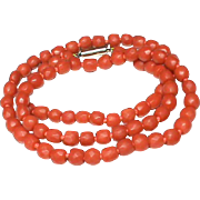 Antique Georgian faceted Coral Necklace with 9k Gold Clasp