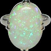 Vintage 14k White Gold Large Opal Ring