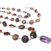 Vintage Sterling Silver Harlequin Gemstone Necklace incl. amethyst & garnet