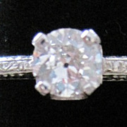 Vintage Platinum and Diamond solitaire engagement ring